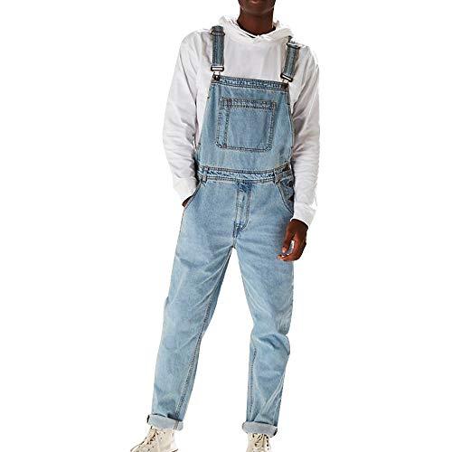 laamei Jeans Latzhose Herren Lange Jeanshose Retro Denim Bib Overalls Skinny Fit Streetwear Zerreißen Loch Arbeitshosen Jumpsuit