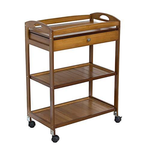 XUSHEN-HU Carro for herramientas Ruedas El 3 Nivel utilidad médica de la compra con gaveta de almacenamiento, cocina del hotel Cartering carrito, carro de herramientas de bambú del salón de belleza de