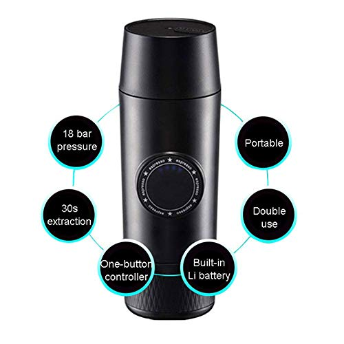 Review Of Portable Espresso Coffee Maker, Mini 2-in-1 Portable Electric Espresso Coffee Maker with 1...