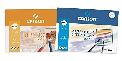 Canson - 1 Minipack A4de 10 hojas Dibujo Basik 130 g y 1 Minipack A4 de 6 hojas Acuarela Basik 370 g