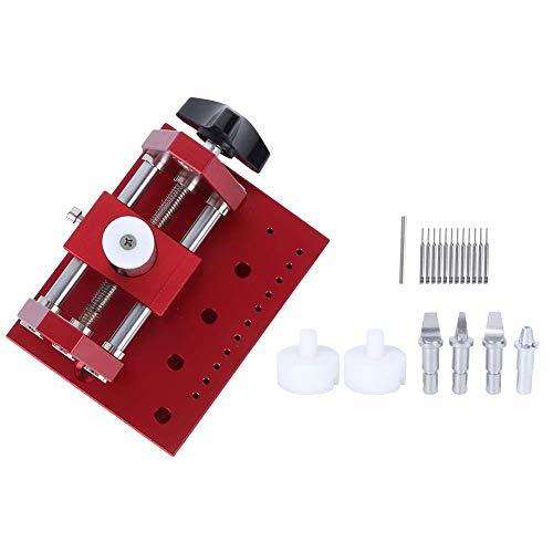 Juego de herramientas para quitar cajas de reloj, acero de aleación universal, abridor de caja de reloj, rojo con 4 cabezales de corte, 12 punzonadoras, 2 plásticos fijos, 1 poste recto, her