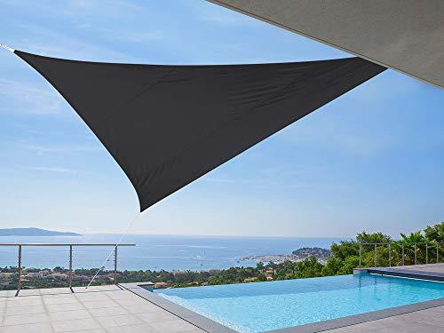 Idéprice toile d'ombrage triangulaire 5x5x5m polyester déparlent anti UV 180 gr/m2 Gris Anthracite, 36 x 25 x 5 cm