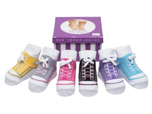 Baby Mädchen Socken die wie Schuhe aussehen - 6 Paar - Weiche Baumwolle - Anti-rutsch Sohlen - Gechenkverpackung (0-12 Monate, SNEAKER SOCKEN-GESCHENKKARTON)