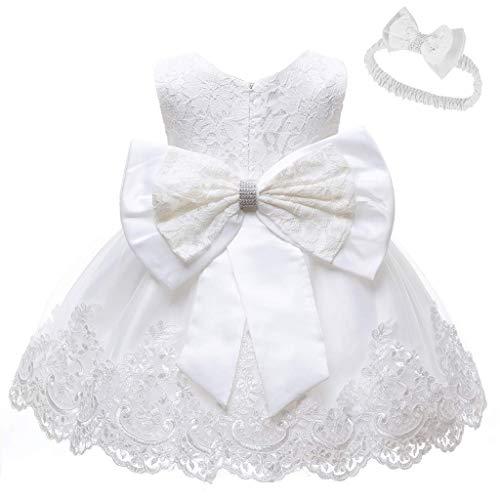 INLLADDY Baby Mädchen Prinzessin Kleid 2tlg Set Bowknot Spitze Taufkleid Festlich Kleid Hochzeit Party Festzug Taufe Tutu Kleid 0-33 Jahre Weiß 6-12Monate