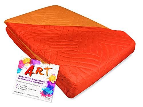 Tex family Couvre-lit matelassé Art couleur unie bicolore – 1 place, orange