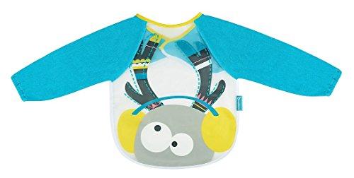 Badabulle B007021 Langarmlätzchen Hirsch, Babylätzchen/Kinderlätzchen mit Ärmeln, mit extra weichem Klettverschluss, wasserdicht, blau