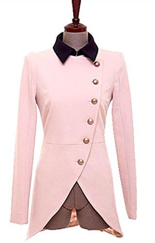 『襟付き バイカラー ショート丈 長袖 羽織 レディース (M, 桜色)』のトップ画像