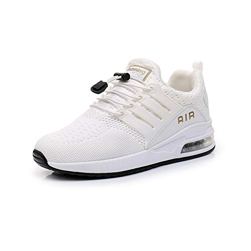 Zapatillas de Deportes Hombre Mujer Aire Libre para Correr Calzado Sneakers Gimnasio Fitness Running Casual White41