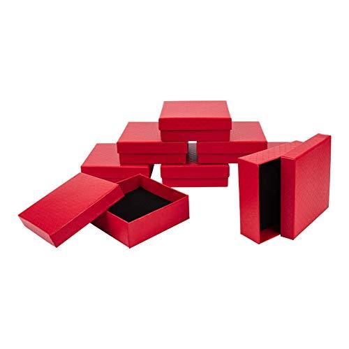 Preisvergleich Produktbild NBEADS Schmuckkästchen Aus Rotem Papier,  Quadratisch,  Für Ringanhänger,  9 × 9 × 3 cm,  12 Stück