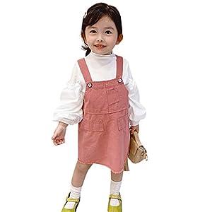 LA-Hazel ワンピース 女の子 シャツ マキシワンピース 2点セット 90-130cm 子供服 女の子 デニムワンピース サロペットスカート デニムサロペット ピンク 白 綿 (90)