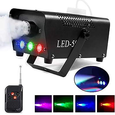 Fog Machine, AONCO 500W Smoke Machine with LED Lights Wireless Remote Control for Halloween Wedding Party Disco Dj Effect
