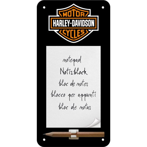 Nostalgic-Art 84020 Harley-Davidson Logo Sign, Notepad, 10 x 20 CM