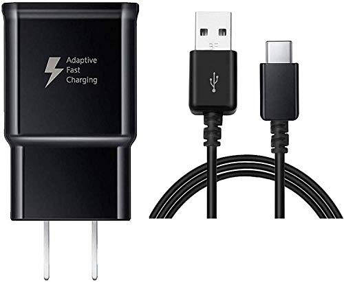 TT&C Adaptive Fast Wall Charger kit with USB Type C Cable Compatible with Samsung Galaxy S20/ S8/S8 Plus/ S9/ S9+/ S10/ S10 Plus/Note 8/ Note 9/ Note 10 (Black)