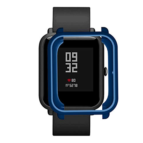 Xbeast Uhrengehäuse Kompatibel mit Xiaomi Huami Amazfit Bip Youth/Lite Uhr Weiche TPU-Hülle Shell Edges Protector (Dunkelblau)