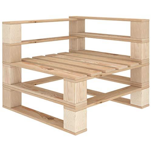 pedkit Garten-Paletten-Ecksofa für Innen- und Außenbereich Palettenmöbel Palettensofa Sofa Gartensofa Sessel Lounge Gartenmöbel Holz 70 x 67,5 x 60,8 cm