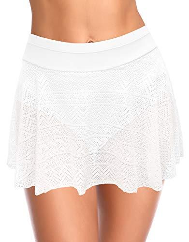 SHEKINI Falda De BañO Plisada para Mujer con Parte Inferior De Bikini Incorporada Falda De Playa De NatacióN De Cintura Alta Ahuecada (Blanco, S)