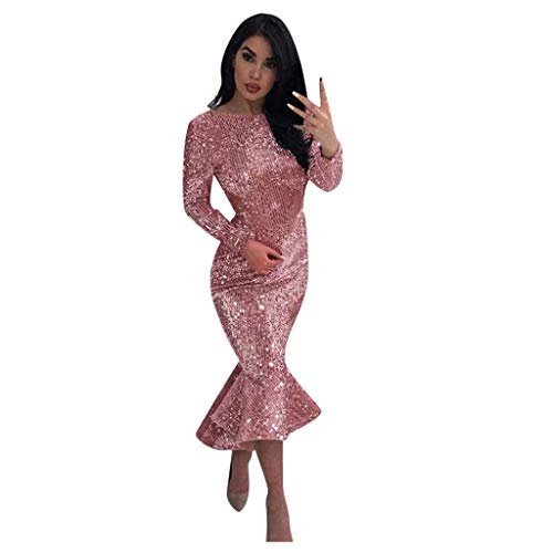 Purchase Witspace Women Sexy o-Neck Sexy Long Sleeve Sequin Ruffle Dress