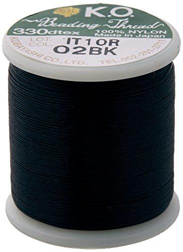 K.O. - Filo per perline in nylon giapponese per perline Delica, 50 m, colore: Nero