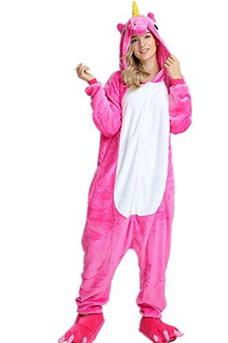 VineCrown Unicornio Pijama Animal Disfraces Traje Adultos Ropa de dormir Novedad Pijamas de una pieza Cosplay Carnaval Halloween Navidad (XL for 177CM-185CM, Rosa)