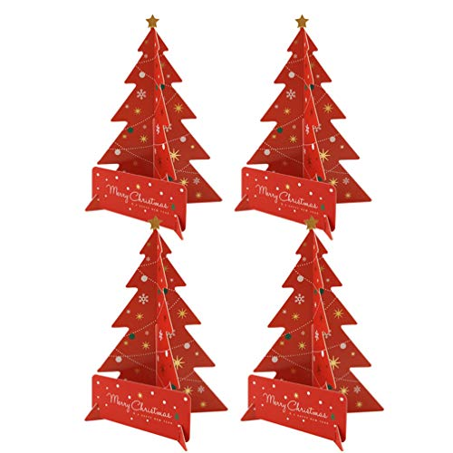 Amosfun Christmas Tree Card 3d Xmas Greeting Card Xmas Blessing Card Festival Gift Party Supplies for Adults Children Kids with Envelope 4 Set (Red)
