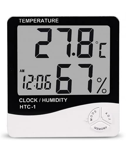 All in One Durable Hard Plastic Digital Wall Clock with Temperature and Humidity, Hygrometer, Date, Alarm Function (White)