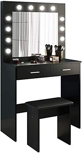 Vanidad de la lámpara LED de espejo de la cómoda cajones grandes y taburetes,Grey