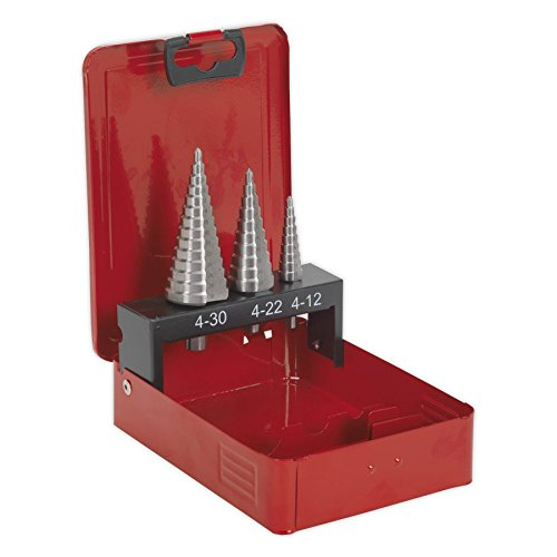 Sealey AK4733 3pc Double Flute HSS M2 Step Drill Bit Set