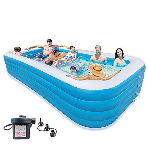 """SELASTASUAL 153"""" x 79"""" x 30"""" Large Inflatable Swimming Pool for Adult (7-9) with Electric Air Pump, Family Full-Sized Large Inflatable Pools, Big Blow Up Pool for Outdoor Backyard Garden Lawn"""
