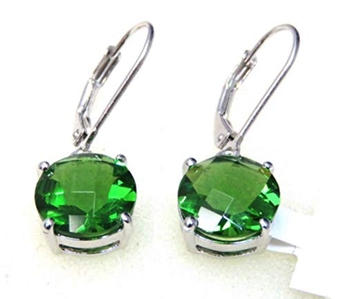 E81010L Round (10x10mm) Dangle Mt St Helens Green Helenite May Birthstone Sterling Silver Earrings (Red)