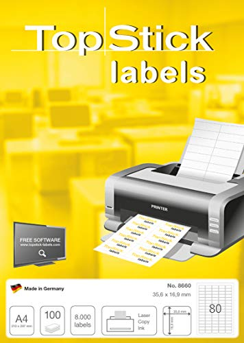 TopStick Etichette Universali, 35,6 x 16,9 mm, Etichette Adesive A4 per Stampante, 80 Etichette per Foglio, Bianco