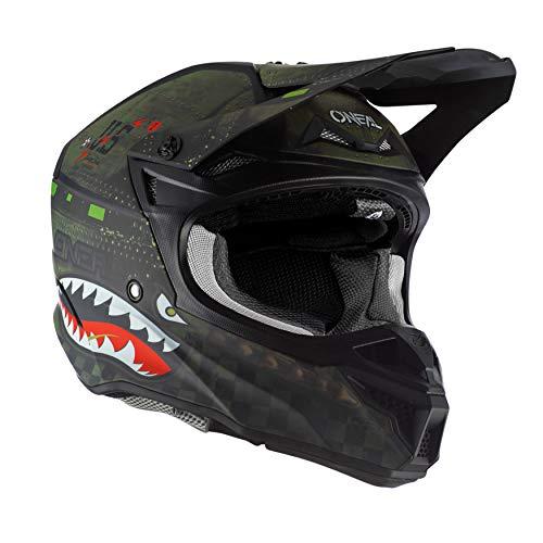 O'Neal | Casco de moto | Moto Enduro | carcasa ABS para mayor seguridad, protector de nariz de goma | 5SRS casco de poliacrilato Warhawk | Adultos | Verde Negro | Talla XXL