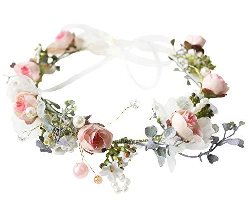 Bridal Floral Crown Pearl Flower Headband Hair Wreath Hair Garland Flower Halo Floral Headpiece with Ribbon Party Wedding Pinnk by Brikuinr