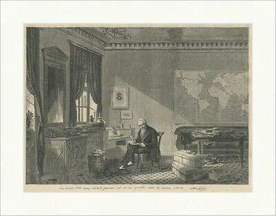 Kunstdruck Alexander von Humboldt in seinem Arbeitszimmer Mäzen Botanik Holzstich E 22640