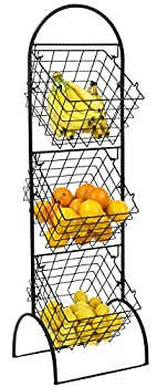 Sorbus 3-Tier Wire Market Basket Storage Stand for Fruit Vegetables Toiletries Household Items Stylish Tiered Serving Stand Baskets for Kitchen Bathroom Organization  3 Tier