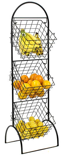 Sorbus 3-Tier Wire Market Basket Storage Stand for Fruit, Vegetables, Toiletries, Household Items, Stylish Tiered Serving Stand Baskets for Kitchen, Bathroom Organization (3 Tier)