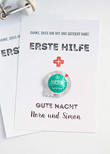 """10 personalisierte Erste Hilfe-Karte für den """"Morgen danach"""