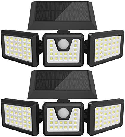 LETRY Solar Security Lights 3 Head Solar Motion Sensor Light Adjustable 74LED Flood Light 270 product image