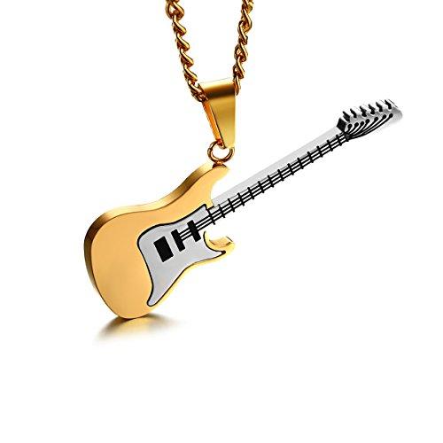 LUOEM Halskette Mit Anhänger Kette Gitarre Musik Edelstahl für Herren (Gold)