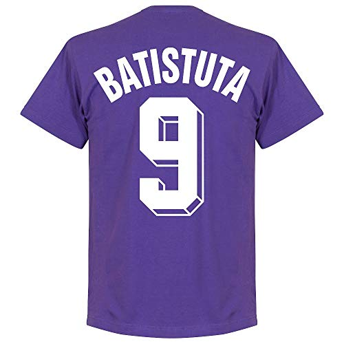 Retake Fiorentina - Maglietta Batistuta 9, colore: Viola, Unisex - Adulto, Raissa metallizzate, Large