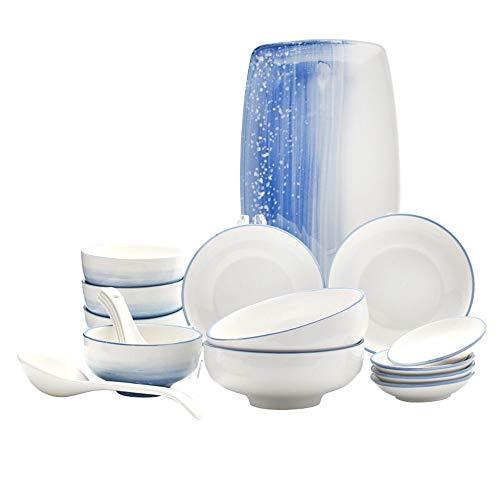 Miyabitors 18-teiliges Geschirr, Keramik Hellblau Stapelbar Design Besteckset, Zu Hause Mode Geschirr Schüssel Kann Als Geschenk, Reisschüssel Teller Schüssel Suppenlöffel Löffel Sauce Gericht Verwend