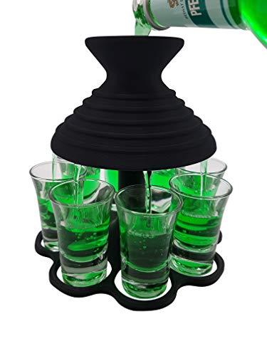Schnapsschirm® Dein schneller Schnapsausgießer für 8 Pinnchen GLEICHZEITIG Geschenkidee - Gadget - Partyspaß - Trinkspiel - Schnaps-Verteiler - Schnapshalter - Trichter (Black Edition)