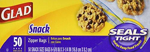 Glad Zipper Food Storage Snack Bags - 50 Count