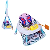 COLOR TREE 2-in-1 Sit-up Floor Seat Infant Activity Chair Doorway Jumper Swing Bumper Jumper Exerciser Set with Door Clamp Adjustable Strap for Toddler Babies