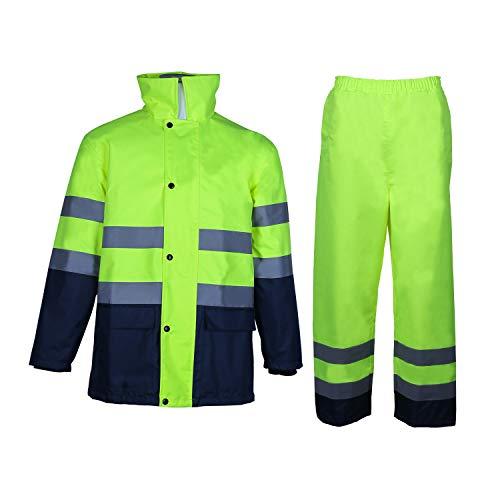 Traje de lluvia de alta visibilidad de clase 3 con capucha plegable, chaqueta y pantalón de trabajo impermeables de seguridad reflectantes, azul marino Bas(amarillo 5XL)