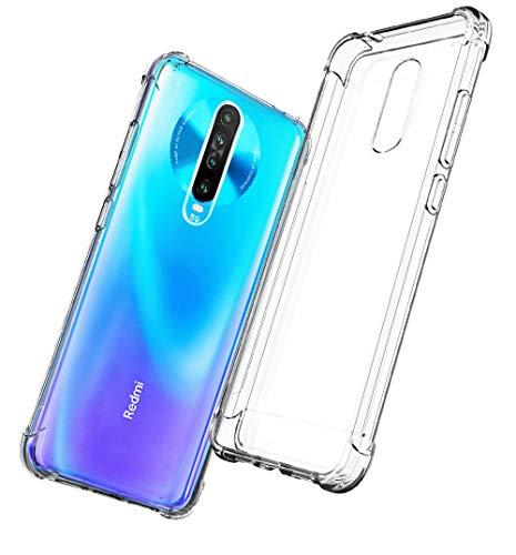 QHOHQ Funda para Xiaomi Redmi K30 5G Poco X2, Cases Silicona Thin Slim TPU Anti-caída Cuatro Esquinas, Transparente