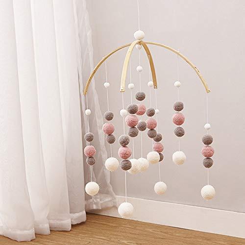 Windspiele Filz Ball Kinderzimmer Mobile Ornament Anhänger Hängende Decke Geschenk Foto Förderung Wohnkultur Handwerk Nette Kindergarten(Rosa weiß grau)