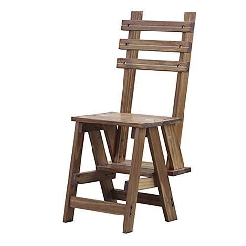 NevyStepladders Opklapbare kruk, ladder, computerstoel, bloemenstandaard, retro, massief hout, 3 stappen