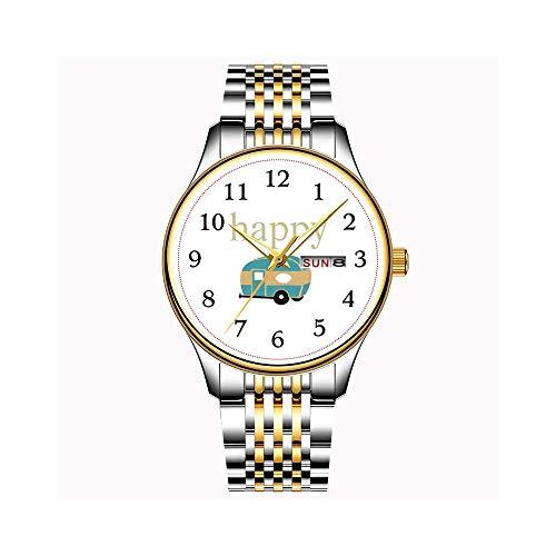 Reloj de hombre de cuarzo japonés con fecha, correa de acero inoxidable dorada, reloj deportivo Island