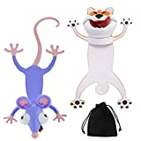 2 Marcadores de Libros de Animal de Dibujo Animado 3D Marcapáginas de Perros Ratones Lindos Divertidos Papelería Juguetes de Broma de Fiesta de Cumpleaños Halloween con Bolsa de Almacenaje