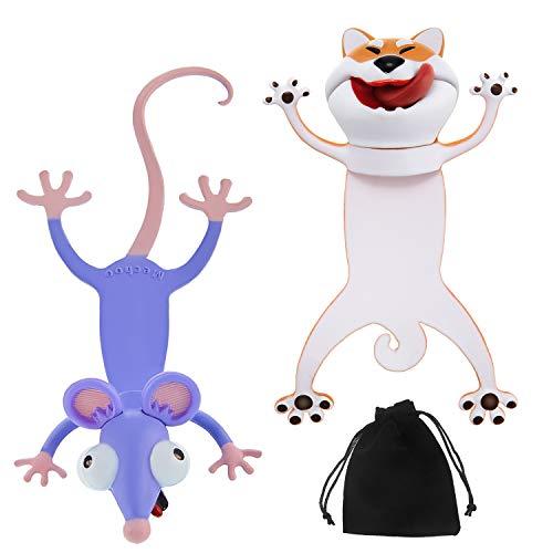 2 Segnalibri Animali del Fumetto 3D Segnalibri di Cane e Topo Ouch Segnalibri Divertenti Simpatici Bomboniere per Compleanno Halloween Cancelleria Giocattoli di Scherzo per Bambini Leggere